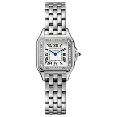 Cartier Panthère Quartz Movement Small Model Diamond and Steel Watch W4PN0007