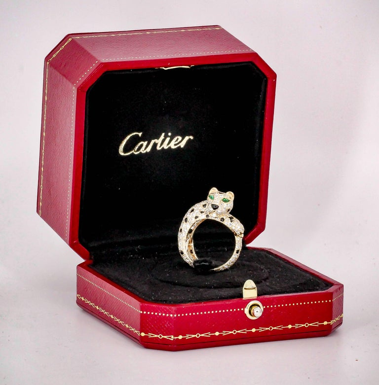 Cartier Panthere Rare Diamond Emerald, Onyx and Gold Ring For Sale 7