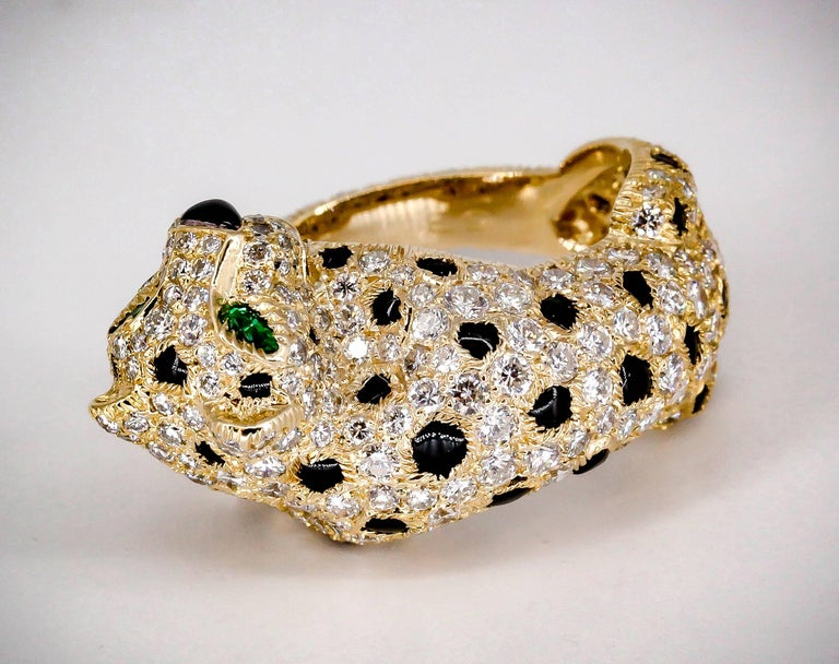 Women's Cartier Panthere Rare Diamond Emerald, Onyx and Gold Ring For Sale