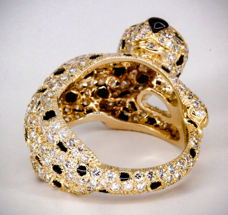 Cartier Panthere Rare Diamond Emerald, Onyx and Gold Ring For Sale 2