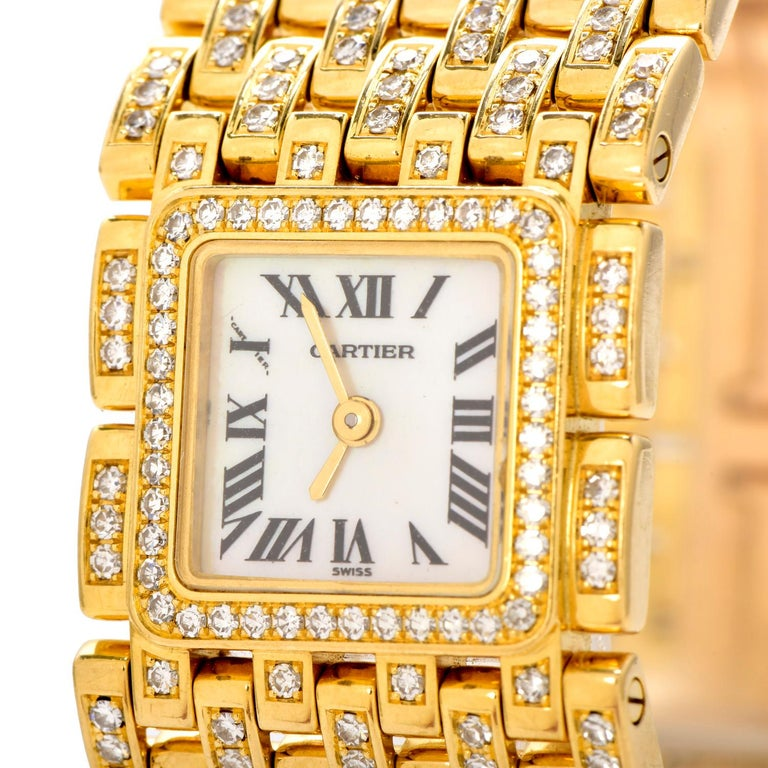 This exquisite Cartier Panthere Ruban Diamond 18K Gold Designer Watch is an excellent example of a timeless design weighing approximately 118.2 grams.  Expertly crafted in solid heavy 18K yellow gold. Featuring  148  Genuine Diamonds round-cut,