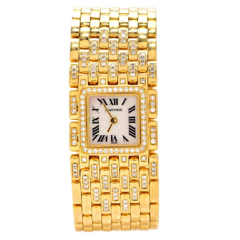 Modern Cartier Panthere Ruban Diamond 18K Gold Designer Watch For Sale