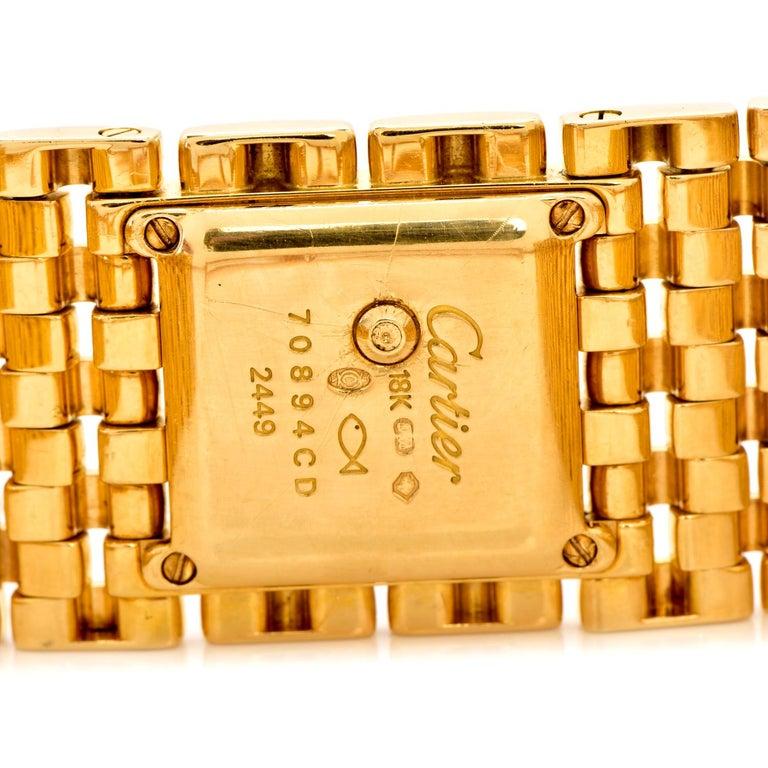 Round Cut Cartier Panthere Ruban Diamond 18K Gold Designer Watch For Sale
