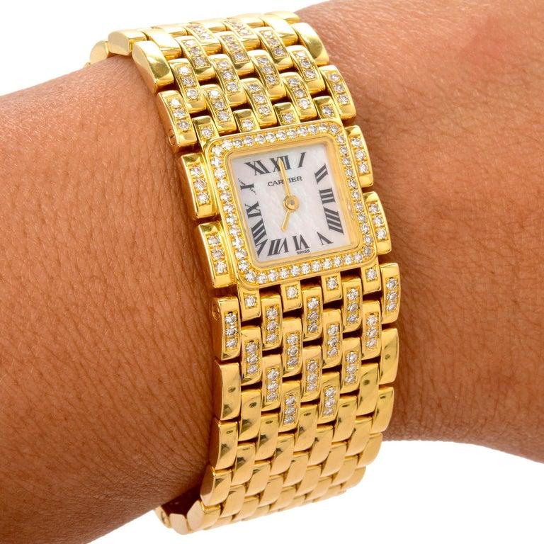 Women's Cartier Panthere Ruban Diamond 18K Gold Designer Watch For Sale