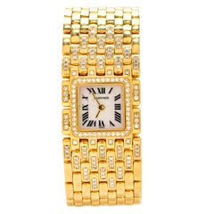 Cartier Panthere Ruban Diamond 18K Gold Designer Watch