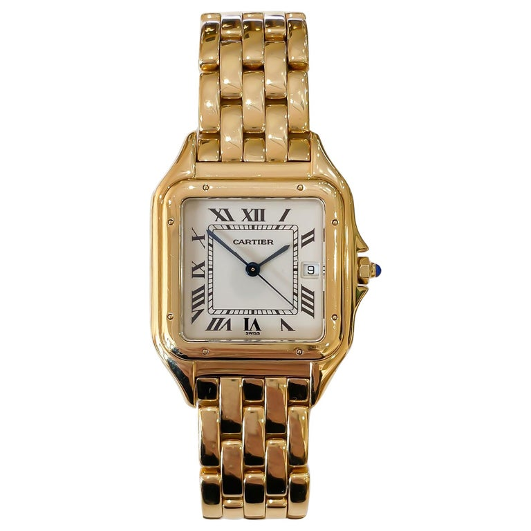 Cartier Panthere Solid 18 Karat Yellow Gold, Quartz Movement and Box