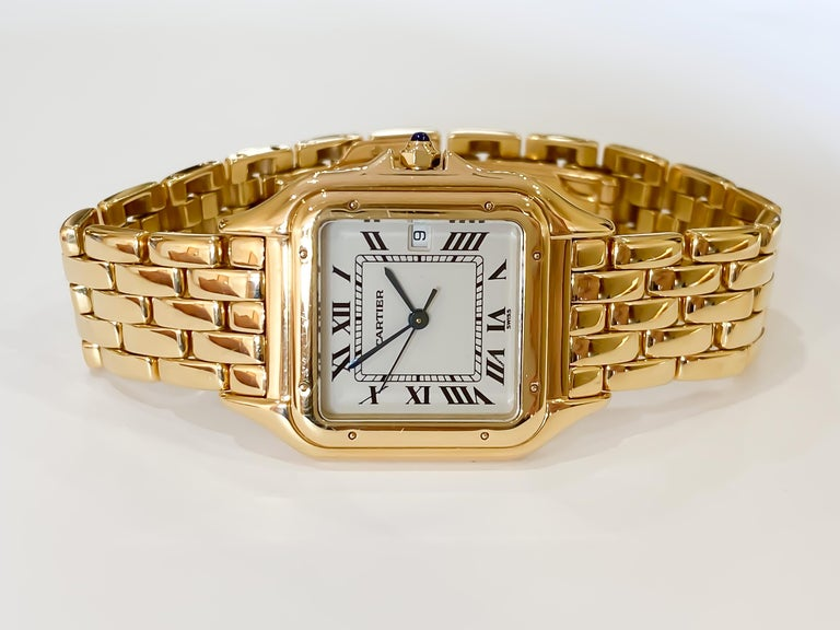 Cartier Panthere Solid 18 Karat Yellow Gold, Quartz Movement and Box In Excellent Condition In Carmel-by-the-Sea, CA