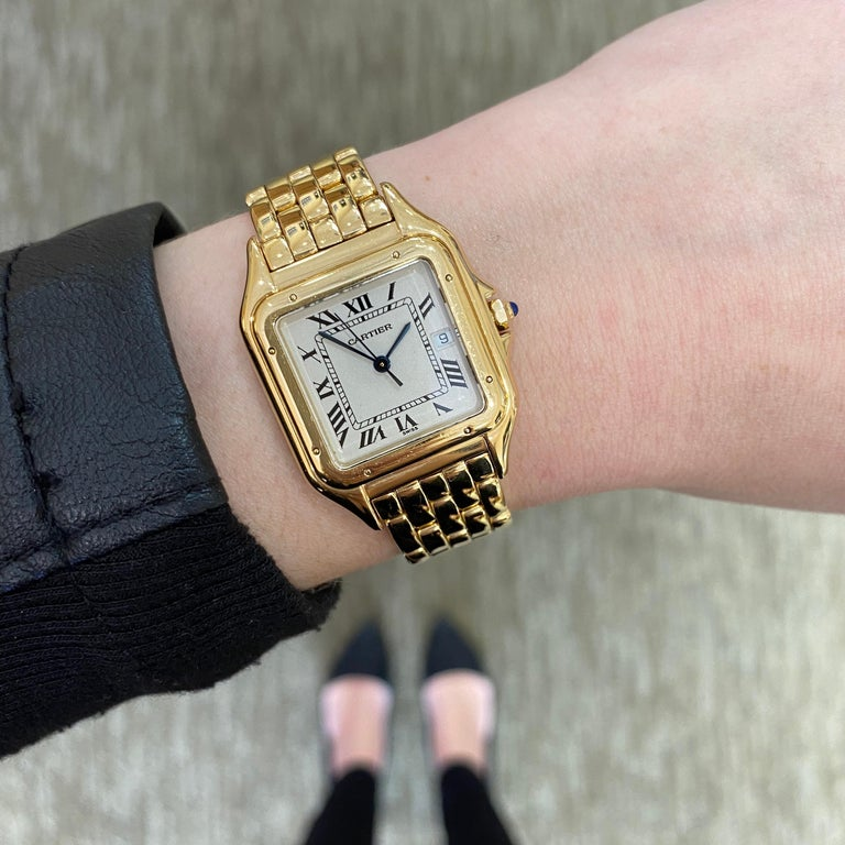 Women's or Men's Cartier Panthere Solid 18 Karat Yellow Gold, Quartz Movement and Box