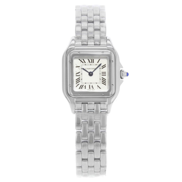 6b397cb9817 Cartier Panthere Square Face Silver Dial Steel Quartz Ladies Watch WSPN0006  For Sale