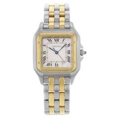 Cartier Panthere Steel 18 Karat Yellow Gold Ivory Dial Quartz Ladies Watch 1100