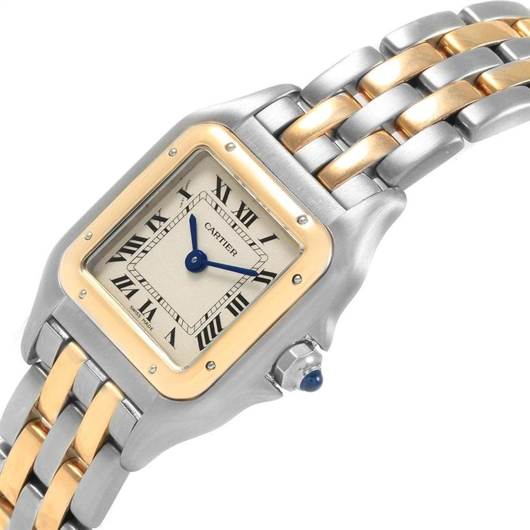 Cartier Panthere Steel 18 Karat Yellow Gold 2-Row Ladies Watch W25029B6 In Excellent Condition For Sale In Atlanta, GA