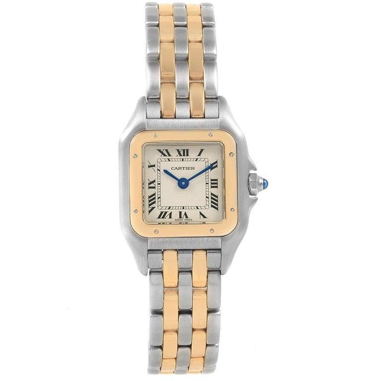 Women's Cartier Panthere Steel 18 Karat Yellow Gold 2-Row Ladies Watch W25029B6 For Sale