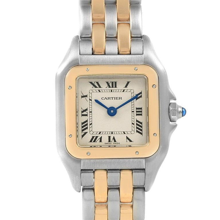 Cartier Panthere Steel 18 Karat Yellow Gold 2-Row Ladies Watch W25029B6 For Sale 1