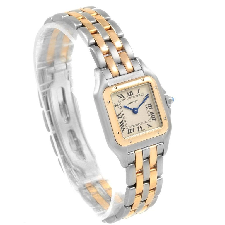 Cartier Panthere Steel 18 Karat Yellow Gold 2-Row Ladies Watch W25029B6 For Sale 2