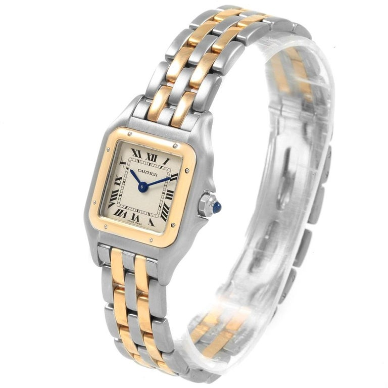 Cartier Panthere Steel 18 Karat Yellow Gold 2-Row Ladies Watch W25029B6 For Sale 3