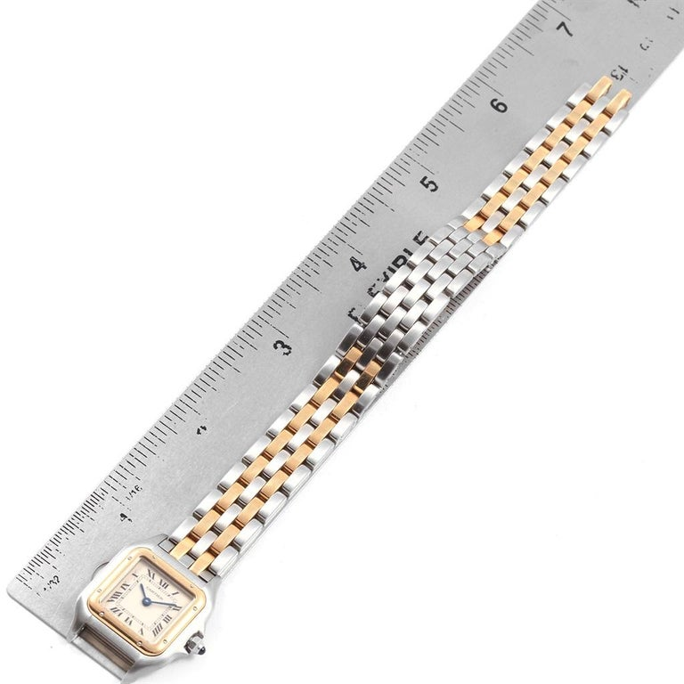 Cartier Panthere Steel 18 Karat Yellow Gold 2-Row Ladies Watch W25029B6 For Sale 5