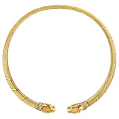 Cartier Panthere Tri Color Gold Diamond Choker Necklace