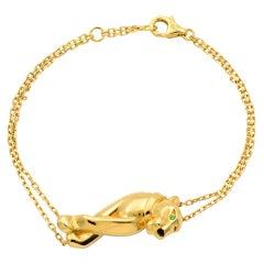 Cartier Panthere Tsavorite Garnet Lacquer 18 Karat Gold Double Chain Bracelet