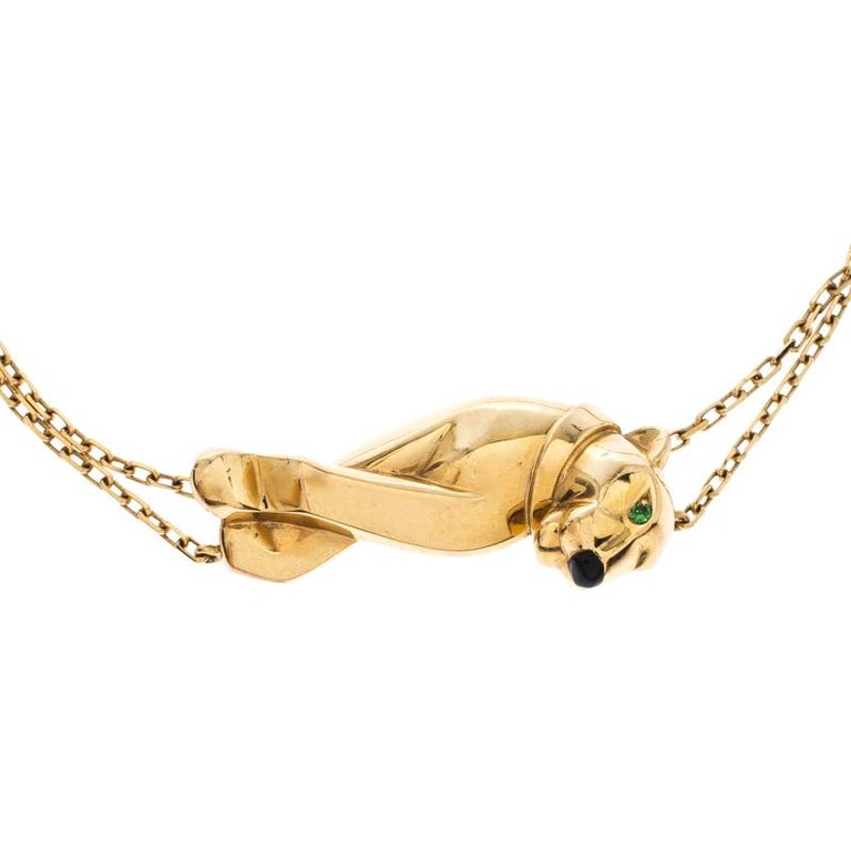 Contemporary Cartier Panthere  Tsavorite Garnet Lacquer 18k Yellow Gold Double Chain Bracelet For Sale