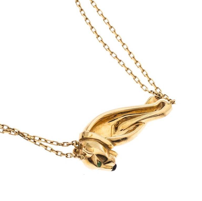 Cartier Panthere  Tsavorite Garnet Lacquer 18k Yellow Gold Double Chain Bracelet In Good Condition For Sale In Dubai, Al Qouz 2