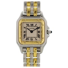 Cartier Panthere Two-Tone Two-Row 18 Karat Yellow Gold and Stainless Steel 1120