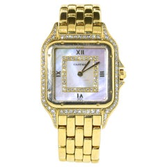 Cartier Panthere Unisex 18 Karat Diamond and Mother of Pearl Vintage Wristwatch