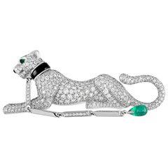 Cartier Panthère Vintage 18 Karat White Gold Diamond, Onyx and Emerald Brooch