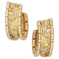 Cartier Panthere Walking Panther Diamond Hoop Earrings Yellow Gold Vintage 1980s