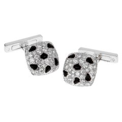 Cartier Panthere Diamond Onyx White Gold Cufflinks
