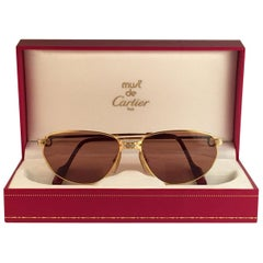 Cartier Panthere Windsor 59mm Cat Eye Sunglasses Heavy Plated France