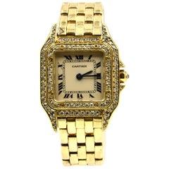 Cartier Yellow Gold Diamond Panthere quartz Wristwatch Ref 1131