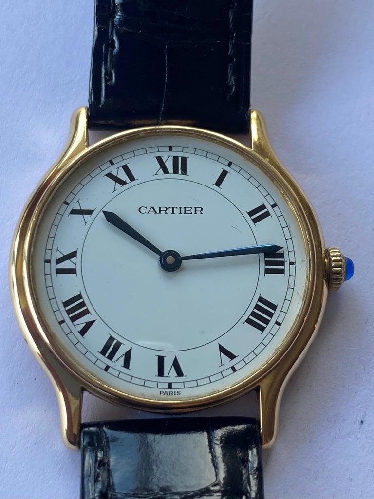 Cartier Paris, 18 Karat Gold, Model: Ronde, Handwinding Movement, circa 1975 For Sale 1