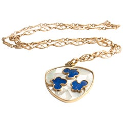 Cartier Paris 18k Yellow Gold Mother-of-Pearl and Lapis Lazuli Pendant Necklace