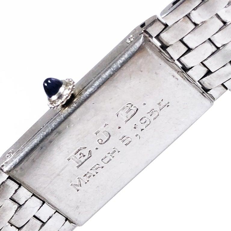 Cartier Paris 1940 Platinum  EWC Movement Bracelet Wristwatch  In Excellent Condition For Sale In Chicago, IL