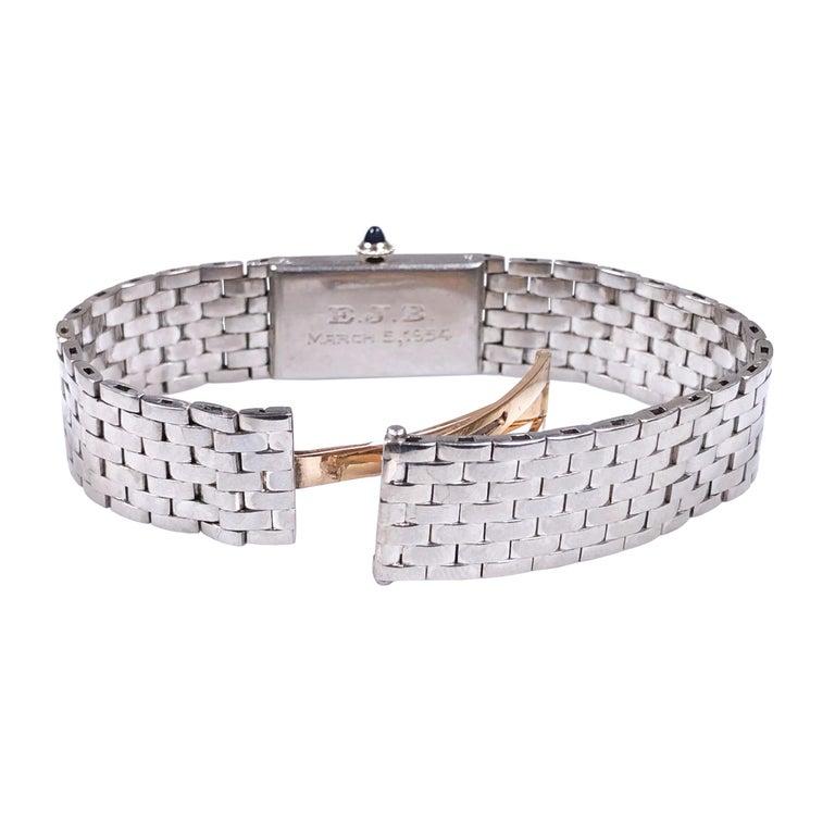 Women's or Men's Cartier Paris 1940 Platinum  EWC Movement Bracelet Wristwatch  For Sale