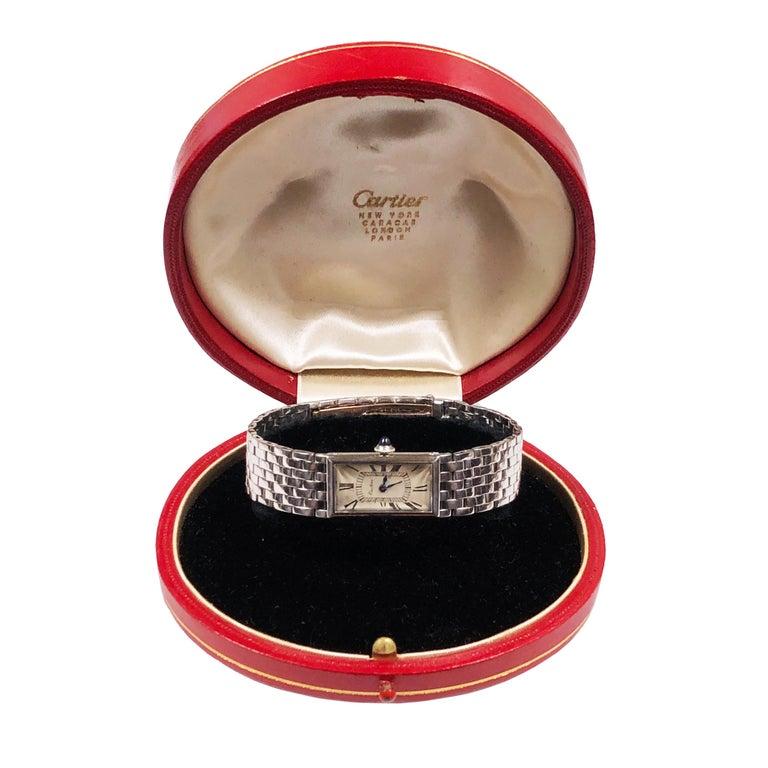 Cartier Paris 1940 Platinum  EWC Movement Bracelet Wristwatch  For Sale 1