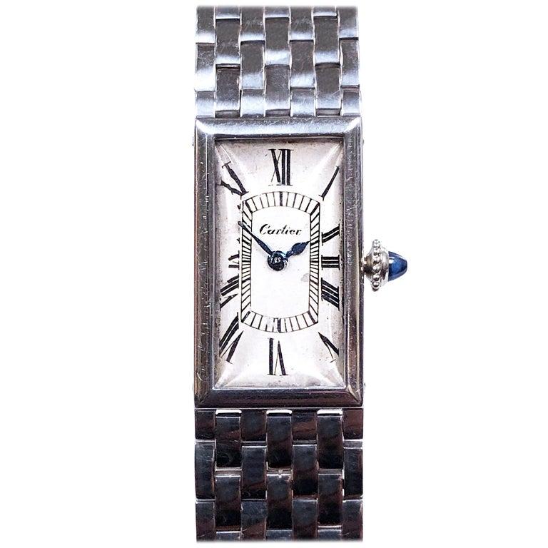 Cartier Paris 1940 Platinum  EWC Movement Bracelet Wristwatch  For Sale