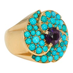 Cartier, Paris 1950s Gold, Turquoise and Amethyst Cocktail Ring