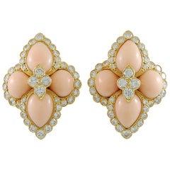 Cartier Paris Diamond Angel Skin Coral Yellow Gold Earclips
