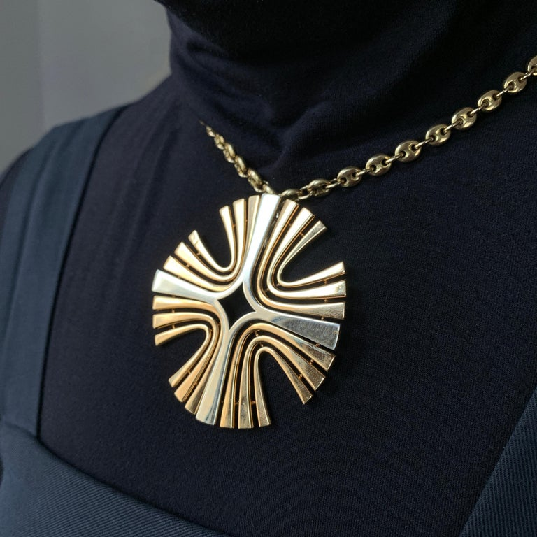 Modern 1970s Cartier Paris White and Yellow Gold Maltese Cross Pendant