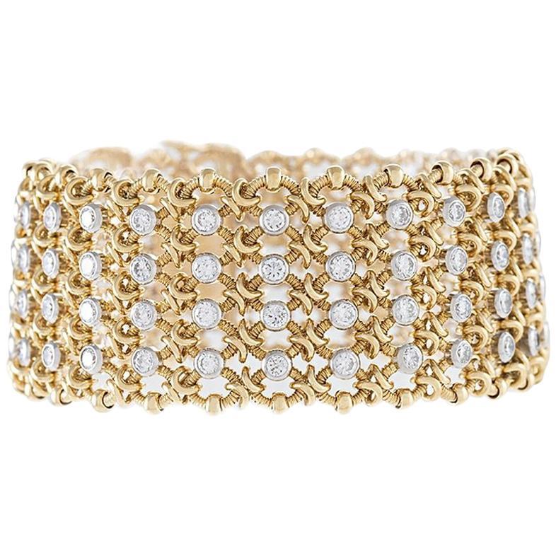 Cartier Gold and Diamond Woven Mesh Link Bracelet