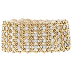 Cartier Paris 1980s Century Diamond Platinum and Gold Bracelet