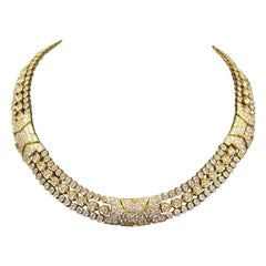 Cartier Paris 1980s Diamond 18 Karat Yellow Gold Choker Necklace