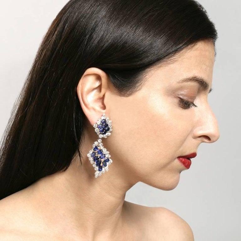 Pear Cut Cartier Sapphire and Diamond Drop Earrings