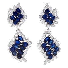 Cartier Paris 1980s Sapphire Diamond Platinum Earrings