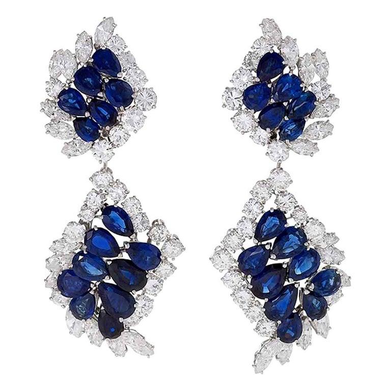 Cartier Sapphire and Diamond Drop Earrings