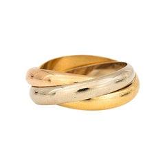 Cartier Paris 1990S Tri-Colored Gold 18 Karat Unisex Trinity Band Ring
