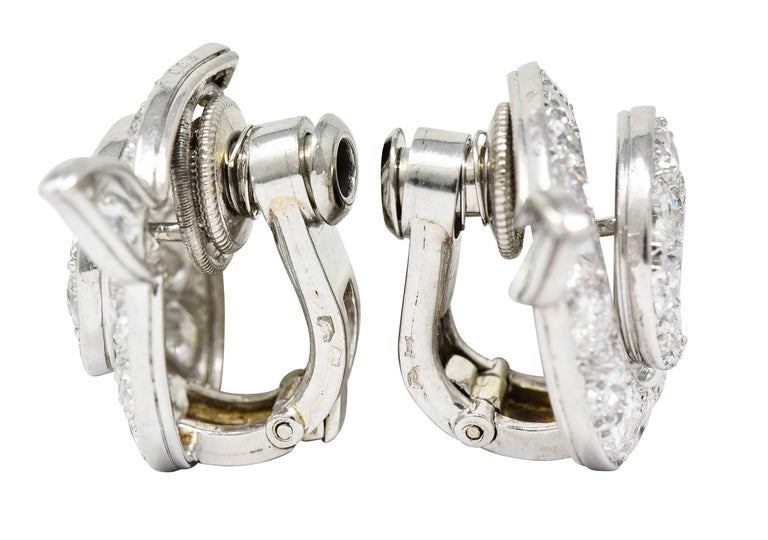 Old European Cut Cartier Paris Art Deco 5.00 Carats Diamond Platinum Swirl Earrings, Circa 1930's For Sale
