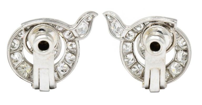 Cartier Paris Art Deco 5.00 Carats Diamond Platinum Swirl Earrings, Circa 1930's For Sale 1