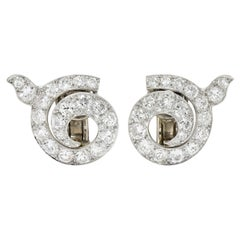 Cartier Paris Art Deco 5.00 Carats Diamond Platinum Swirl Earrings, Circa 1930's